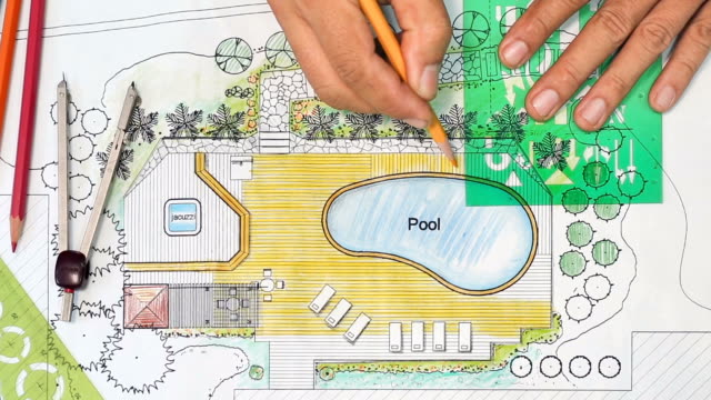 Landscape Architect Designs Backyard Plan with Pool For Luxury Villa. video