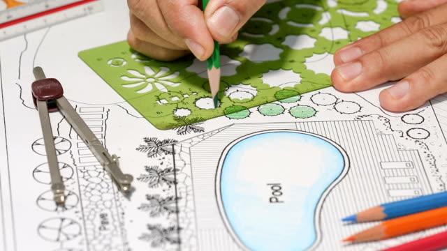Landscape architect designs backyard plan with Pool. video