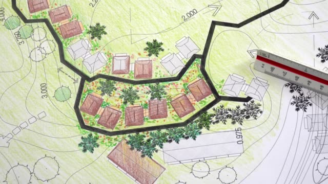 Landscape architecture design garden plan for housing development Landscape architecture design garden plan for housing development ornamental garden stock videos & royalty-free footage