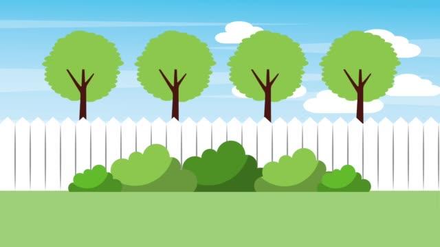 landscape backyard fence trees bushes nature video