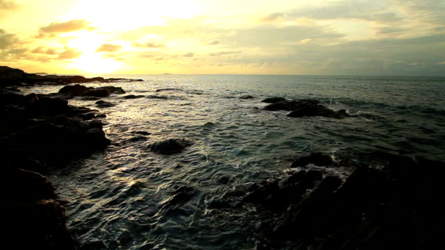 Landscape Beach and sea sunset with wawes video
