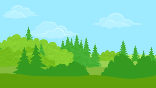 tag landschaft, wald, nahtlose loop - drive illustration stock-videos und b-roll-filmmaterial