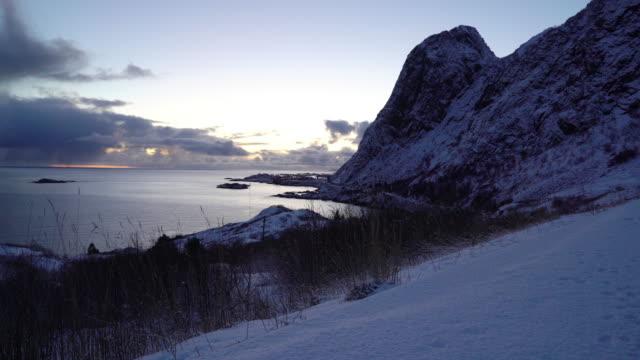 vídeos de stock e filmes b-roll de landscape in lofoten islands,norway - reine