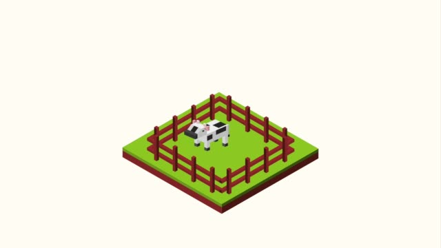 landscape isometric concept cows are grazing in the corral landscape isometric animation hd corral stock videos & royalty-free footage