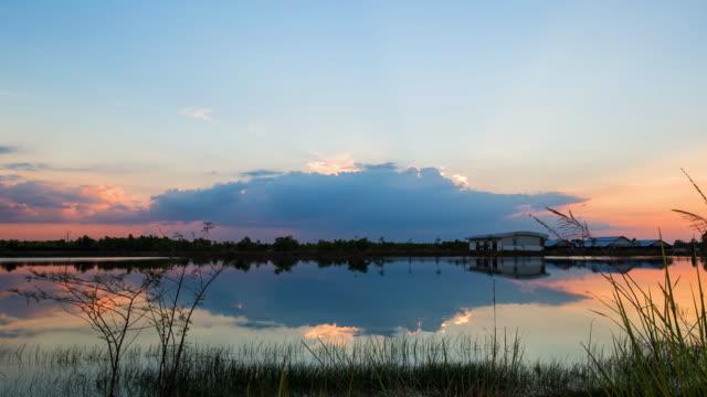 Landscape Lake sunset. video