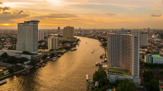 Landscape of Bangkok city in twilight time. video