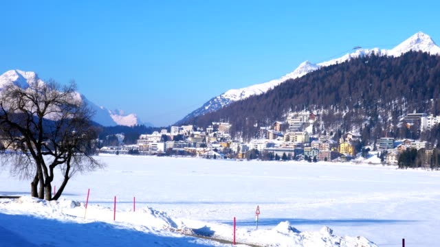 Landscape of Frozen Lake and The town of St. Moritz video