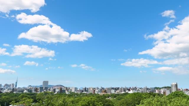 paesaggio della città di fukuoka - cittadina video stock e b–roll