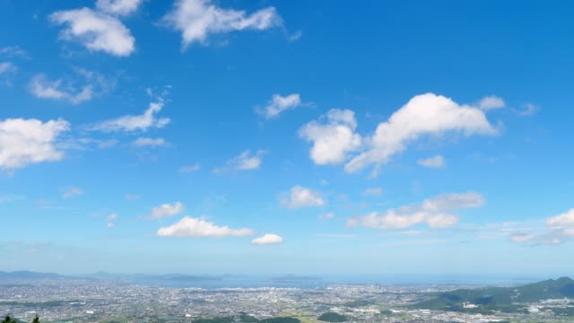 landscape of fukuoka city - blue sky стоковые видео и кадры b-roll