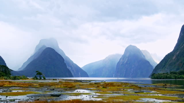 Landscape of high mountain glacier at milford sound, New Zealand video