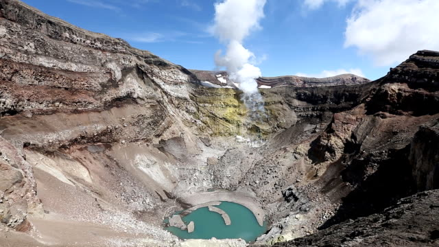 Landscape of Kamchatka: view of crater active Gorely Volcano, fumarolic activity of volcano video