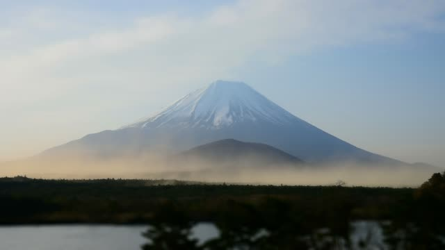 Landscape of Mount Fuji with natural fine sand flying up in the air.