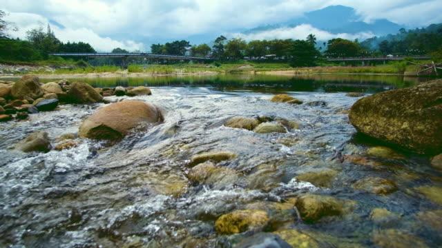 landscape of mountain stream water surface - ручей стоковые видео и кадры b-roll