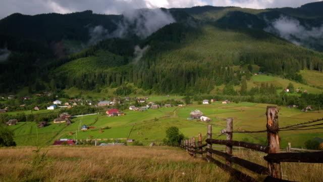 Landscape of mountain village in Carpathians