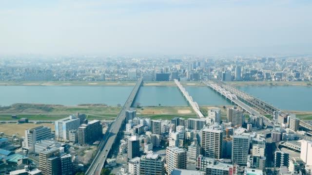 vidéos et rushes de paysage de la ville d'osaka - wagon