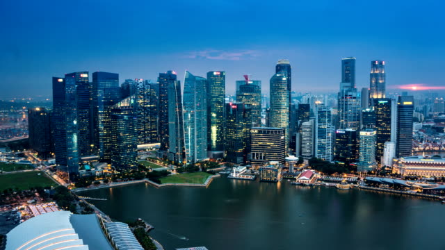 LD TL D2N Landscape of the Singapore financial district and business building in evening lights from sands SkyPark observation deck