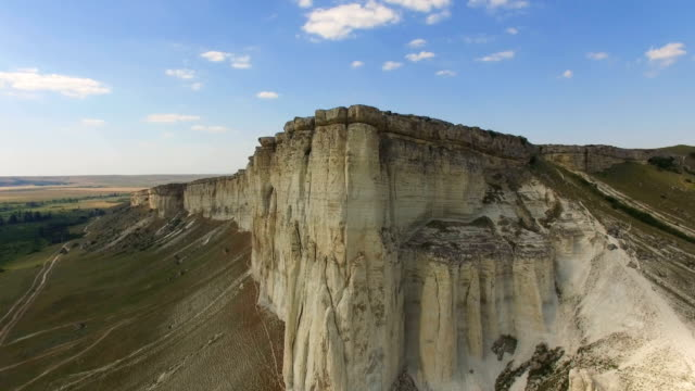 Landscape of white rocky cliffs, aerial video video
