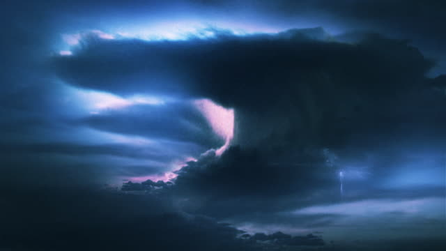 Landscape or abstract background. Beautiful thunderstorm and lightning video. Blue. video