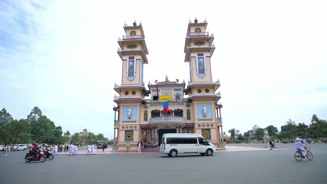 Landscape outside holy temple was built in 1926 Tay Ninh,Vietnam