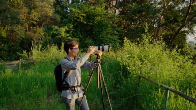 Landscape Professional Photographer taking photos in the morning video