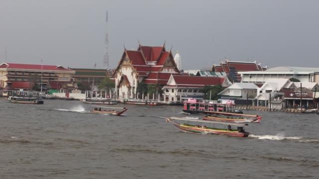 Landscape riverside and transport on water at Joa-praya river landmark of Bangkok Thailand