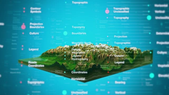vidéos et rushes de topographie de paysage 3d view - image composite numérique