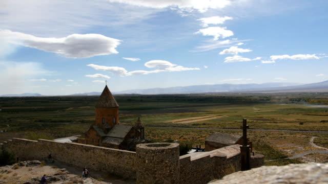 Landscape view of Khor Virap Monastery in Armenia video