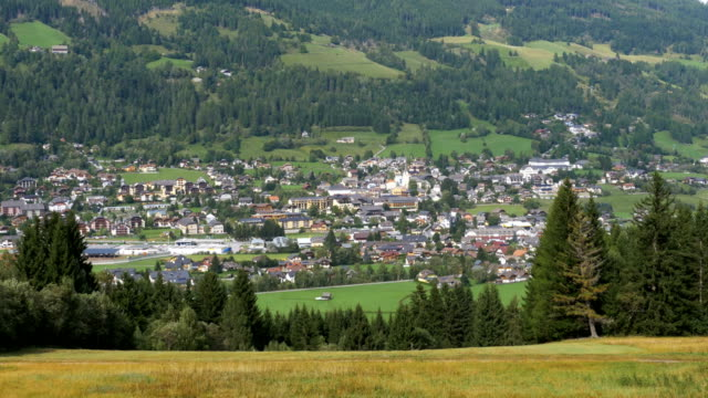 Landscape view of the Austrian city in the Alpine mountains video