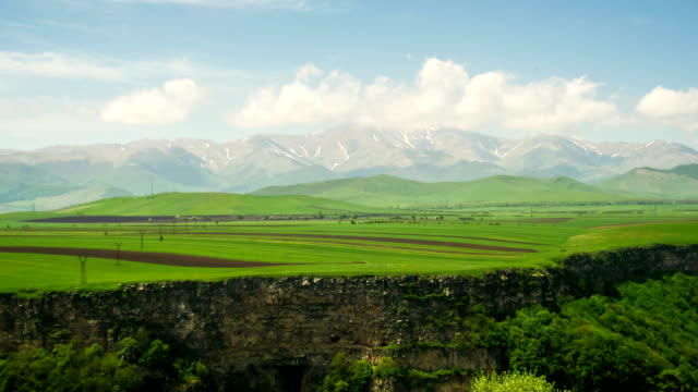 Landscape view of the Canyon, Gorge, stream and Mountains of Armenia. Time Lapse video
