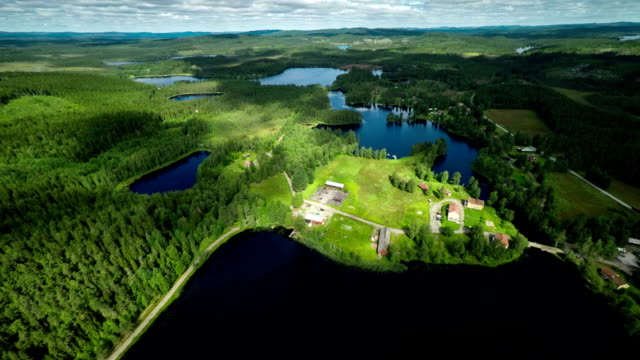 AERIAL: Landscape with lakes in sweden video