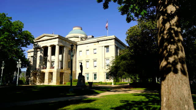 landscaped grounds north carolina state house capital raleigh - capitello video stock e b–roll