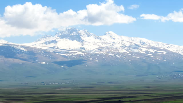 Landscapes and Snowy Peaks Mountains of Armenia. Time lapse video