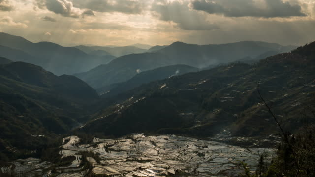 Landscapes on mountain and rice terrace with ray light in China