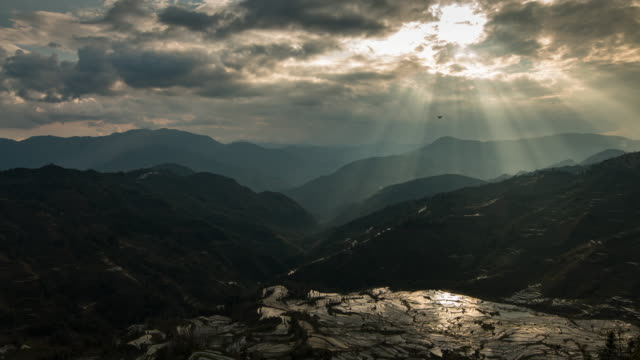 Landscapes on mountain and rice terrace with ray light in China video