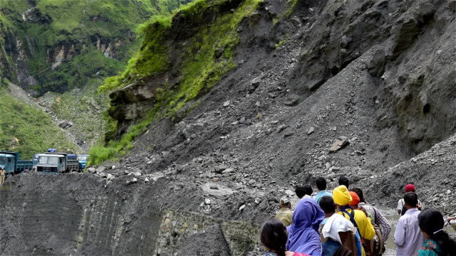 Landslide and Boulders rocks roll in india mountain video