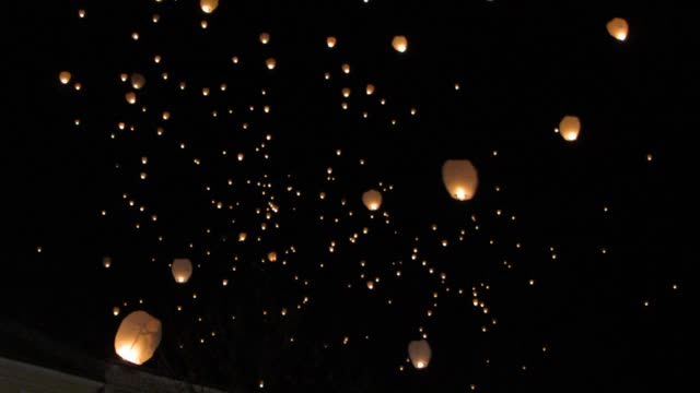 Lantern Festival at Night Lanterns filling the sky during the lantern festival at night. lantern stock videos & royalty-free footage
