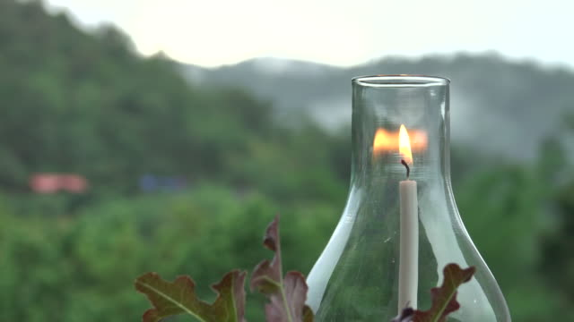 Lantern in mountain at twilight sky candle light on the table lantern stock videos & royalty-free footage