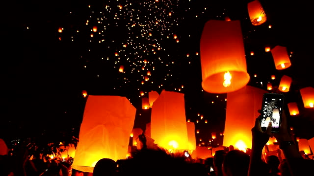 Lantern Traditional Festival Lantern Traditional Festival in Chiangmai Thailand #01 chinese new year stock videos & royalty-free footage