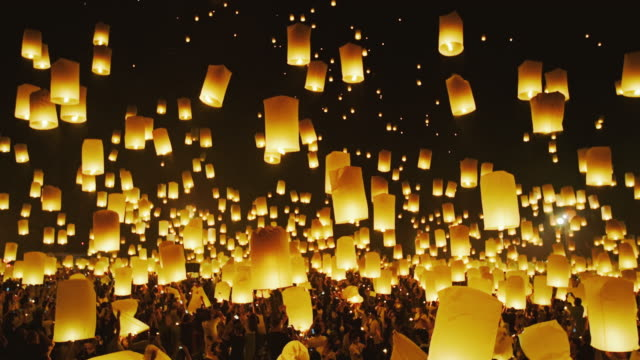 Lanterns Rising into the Night Sky at Festival Incredible festival of lanterns floating up into the night sky lantern stock videos & royalty-free footage
