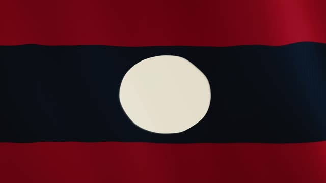 Laos flag waving animation. Full Screen. Symbol of the country video