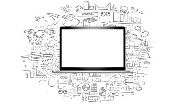 laptop and infographics on alpha channel - narzędzie do pracy filmów i materiałów b-roll