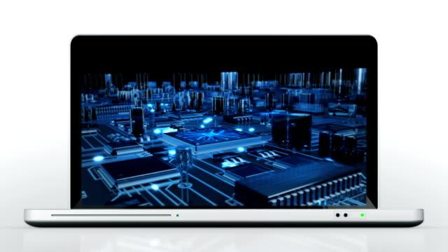 ノートパソコンのアニメーション。口ます。回路基板。白の背景。 - スーパーコンピューター点の映像素材/bロール