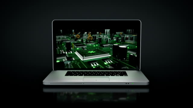 Laptop animation. Spinning. Circuit board. Black background.