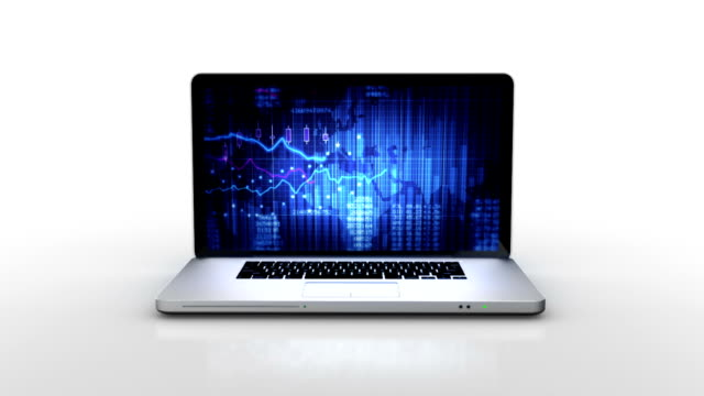 Laptop animation. Spinning. Financial chart. White background.