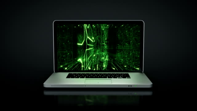Laptop animation. Spinning. Inside circuit board. Black background. 2 videos in 1 file. Highly detailed aluminum laptop with frontal DVD spinning and opening over white background. Circuit board video on the screen. Full HD. Animation created exclusively for iStockphoto. supercomputer stock videos & royalty-free footage