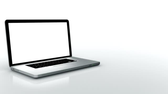 Laptop animation. Spinning. White background.