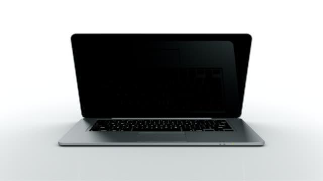 Laptop animation. THIN. White background.