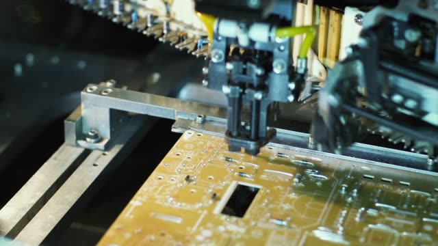 laptop computer assembly line. computer factory. - metal robot in logistic factory video stock e b–roll