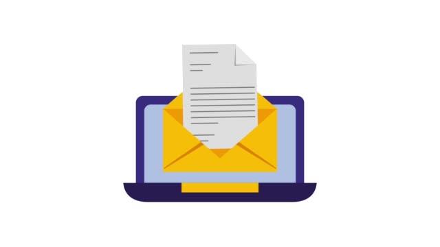 ラップトップ コンピュータ電子メール メッセージ通信 - メール点の映像素材/bロール