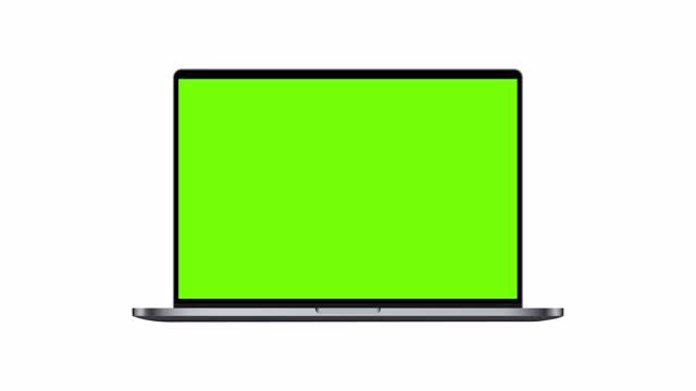 vídeos de stock, filmes e b-roll de laptop dark silver mockup com tela verde isolada em fundo branco - laptop